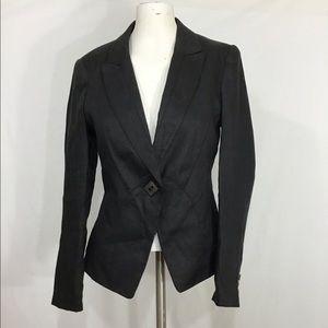 Zara Basic Ramie One Button Tuxedo Collar Blazer